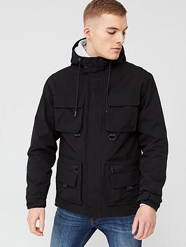River Island River Island Hooded Pocket Front Utility Jacket - Black Picture