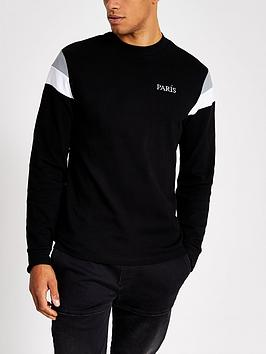 River Island River Island Long Sleeve Colour Blocked T-Shirt - Black Picture