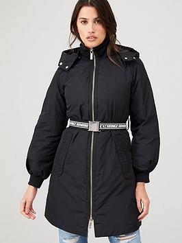Armani Exchange   Caban Coat With Belt - Black