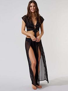 boux-avenue-satin-stripe-wide-leg-split-front-trousers-black