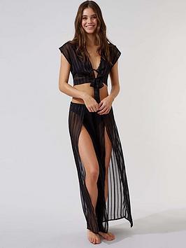 Boux Avenue Boux Avenue Satin Stripe Wide Leg Split Front Trousers - Black Picture