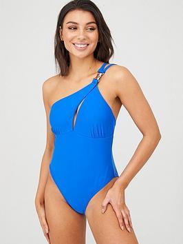 Boux Avenue Boux Avenue Panama Twist Front One Shoulder Swimsuit - Cobalt Picture