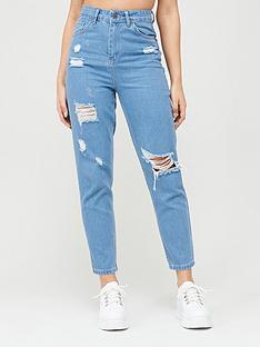 boohoo-boohoo-sophie-high-waisted-distressed-mom-jeans-light-blue