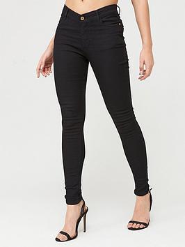 Boohoo    High Rise 5 Pocket Skinny Jeans - Black
