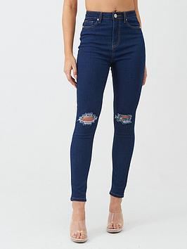 Boohoo    High Waist Distressed Skinny Jean - Mid Blue