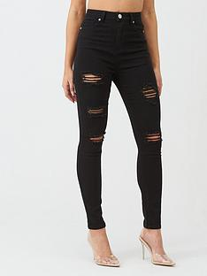 boohoo-boohoo-high-rise-super-distressed-skinny-jean-black