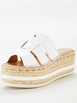 KANNA Kanna Ana20 Flatform Wedge Esparille Sandal - White Picture