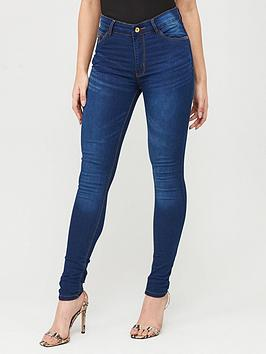 Boohoo    High Rise 5 Pocket Skinny Jeans - Indigo
