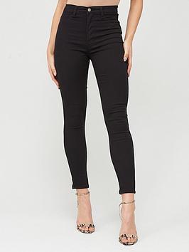 Boohoo    Super High Waist Power Stretch Skinny Jeans - Black