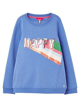 Joules Joules Girls Viola Happy Crew Neck Sweat - Blue Picture