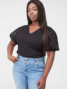 V by Very Curve V By Very Curve Lace Sleeve V-Neck T-Shirt - Black Picture