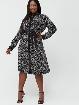 V by Very Curve V By Very Curve Heart Print Shirt Dress - Black Picture