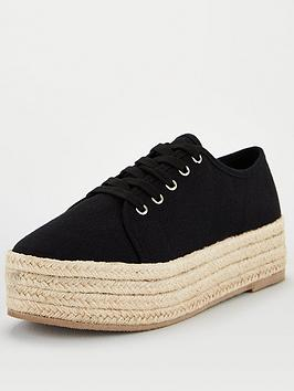V by Very V By Very Chunky Espadrille Canvas Trainer - Black Picture