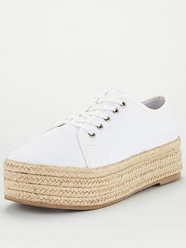 V by Very V By Very Chunky Espadrille Canvas Trainer - White Picture