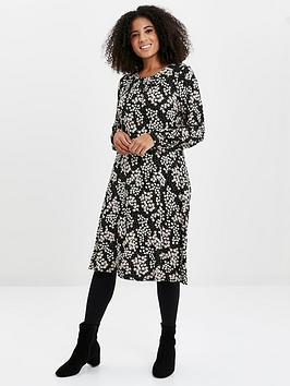 Evans Evans Daisy Print Jersey Dress - Black Picture