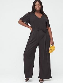 V by Very Curve V By Very Curve Lace Insert Wide Leg Jumpsuit - Black Picture