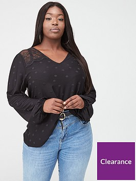 v-by-very-curve-lace-insert-spot-top-black
