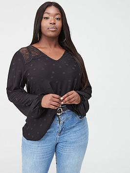 V by Very Curve V By Very Curve Lace Insert Spot Top - Black Picture