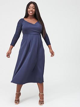 V by Very Curve V By Very Curve Lace Sleeve Midi Dress - Navy