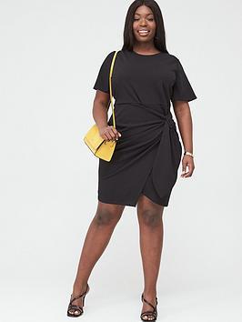 V by Very Curve V By Very Curve Stretch Drape Detail Dress - Black Picture