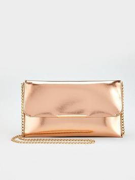 V by Very V By Very Clutch Bag With Chain Strap - Rose Gold Picture
