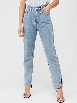 Boohoo    Cut Hem Jeans - Blue