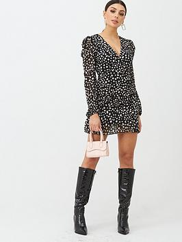 Boohoo Boohoo Boohoo Spot Long Sleeve Plisse Mini Dress - Black Picture