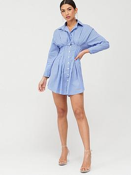 Boohoo Boohoo Boohoo Striped Shirt Dress - Blue Picture
