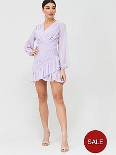 boohoo-boohoo-pleated-ruched-mini-dress-lilac