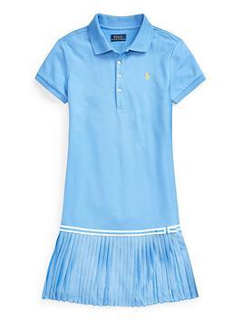 Ralph Lauren Girls Polo Pleated Dress - Blue