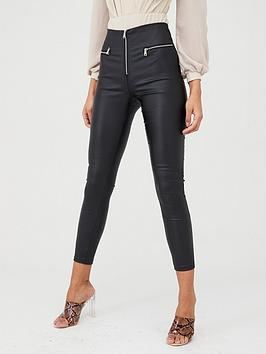 Boohoo    Zip Front High Waist Leather Look Trousers - Black