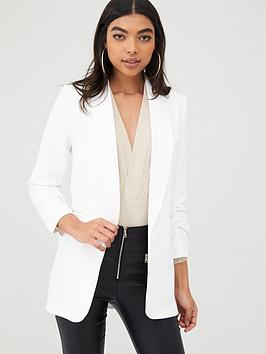 Boohoo    Ruched Sleeved Blazer - White