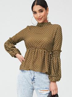 boohoo-boohoo-shirred-balloon-sleeve-blouse
