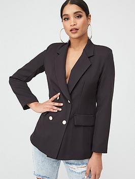 Boohoo    Double Breasted Boxy Military Blazer - Black