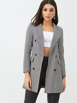 Boohoo    Dogtooth Double Breasted Blazer - Black