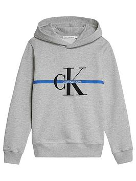 Calvin Klein Jeans  Boys Monogram Stripe Hoodie - Light Grey