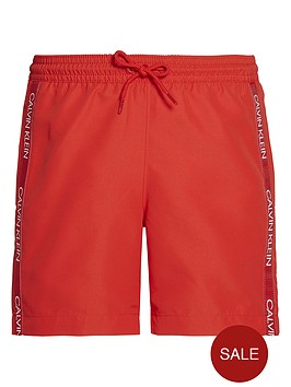 calvin-klein-boys-taped-logo-swimshorts-red