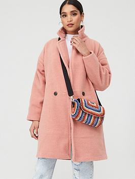 Boohoo    Luxe Brushed Wool-Look Button Through Coat - Dusky Pink