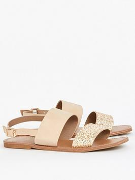 Evans Evans Extra Wide Fit Two Part Simple Sandal - Nude Picture