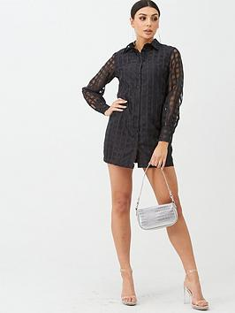 Boohoo Boohoo Boohoo Check Mesh Shirt Dress - Black Picture
