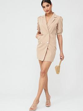 Boohoo Boohoo Boohoo Puff Sleeve Blazer Dress - Taupe Picture