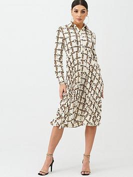 Boohoo Boohoo Boohoo Chain Pleated Midi Dress - White Picture