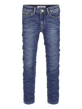 Calvin Klein Jeans Calvin Klein Jeans Girls Washed Skinny Jeans - Mid Blue Picture
