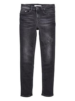 Calvin Klein Jeans Calvin Klein Jeans Girls Athletic Skinny Jeans - Black Picture