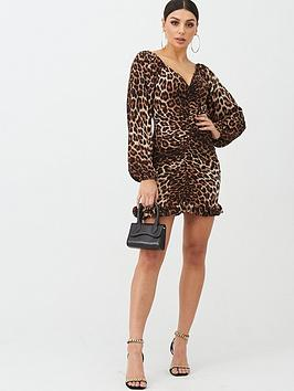 Boohoo Boohoo Boohoo Ruched Wide Sleeve Frill Leopard Print Mini Dress -  ... Picture
