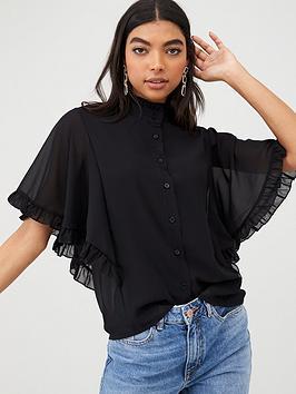 Boohoo Boohoo Boohoo Woven Ruffle Angel Sleeve Blouse - Black Picture