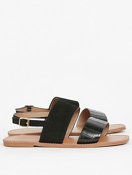 Evans  Extra Wide Fit Two Part Simple Sandal - Black