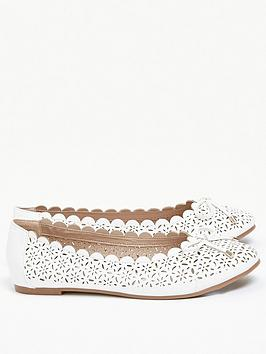 evans-extra-wide-fit-renny-lazer-cut-ballet-shoe-white