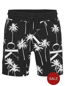 calvin-klein-jeans-boys-palm-print-jog-shorts-black