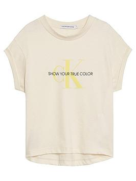Calvin Klein Jeans Calvin Klein Jeans Girls Natural Monogram Short Sleeve  ... Picture